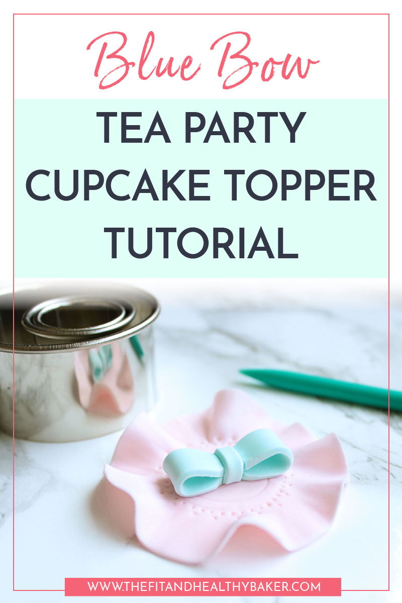 Blue Bow tea Party Cupcake Topper