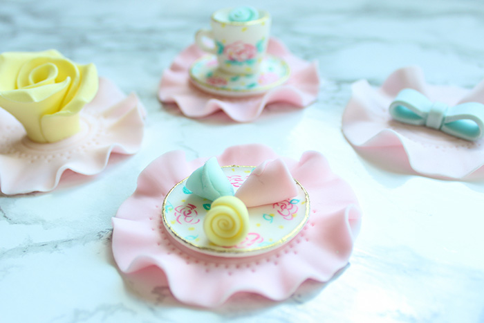 Flower Saucer Tea Party Cupcake Topper