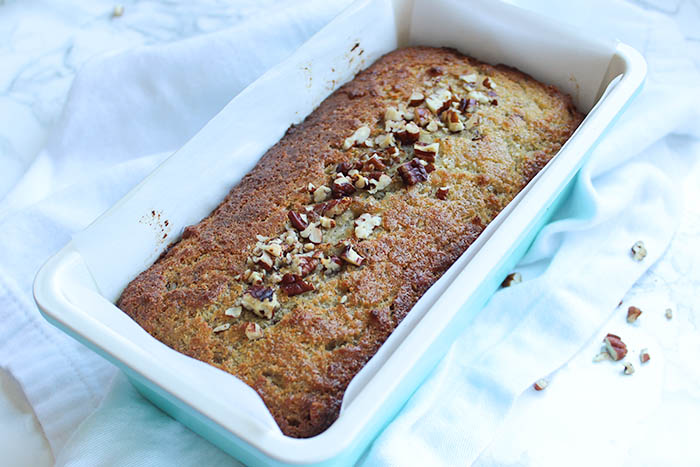 Healthy Banana Pecan Bread - baked