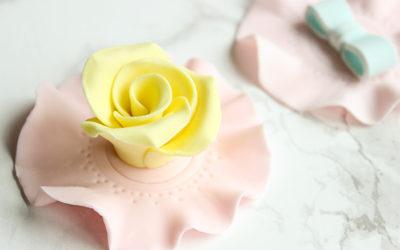 Yellow Rose Tea Party Cupcake Topper