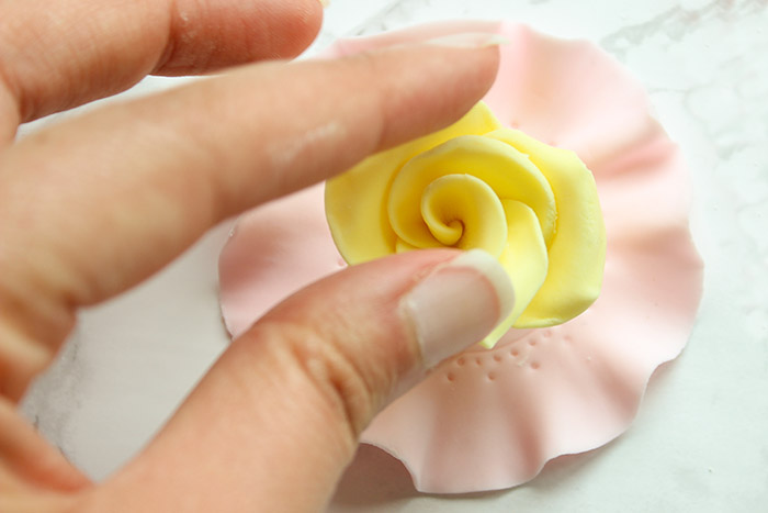 Yellow Rose Tea Party Cupcake Topper - Paste Rose on Doily