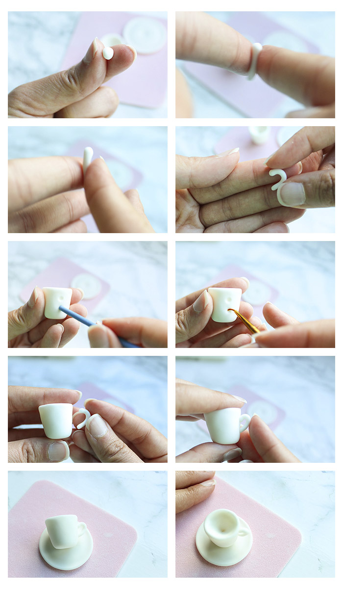 Teacup Cupcake Topper - step by step adhering teacup handle