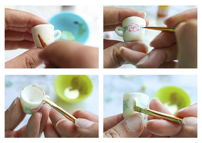 Teacup Cupcake Topper - step by step painting of teacup