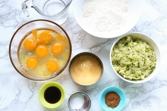 zucchini bread with coconut flour - ingredients
