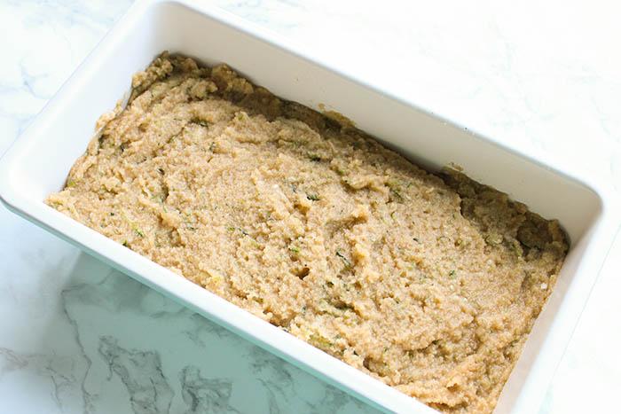 zucchini bread with coconut flour - pour into bread pan