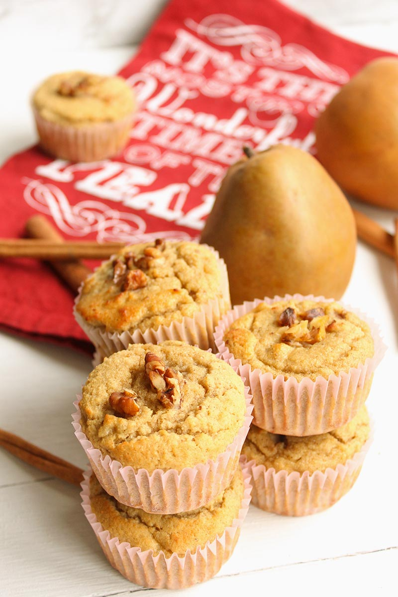 Ginger Pear Low Carb Muffins - vertical