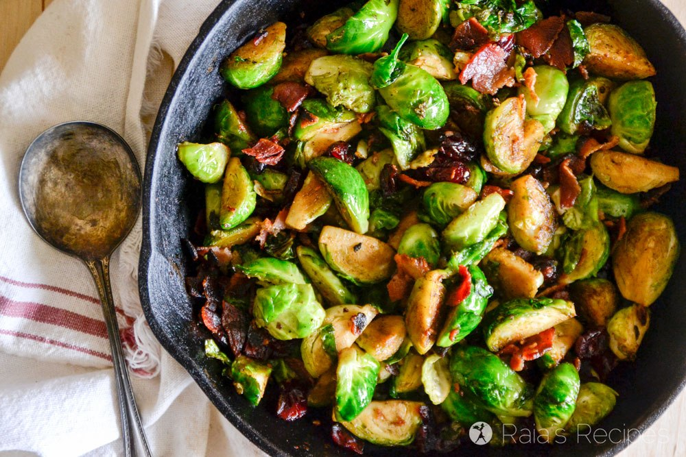 Keto Thanksgiving Meal - pan-fried-brussels-sprouts-bacon-dried-cranberries