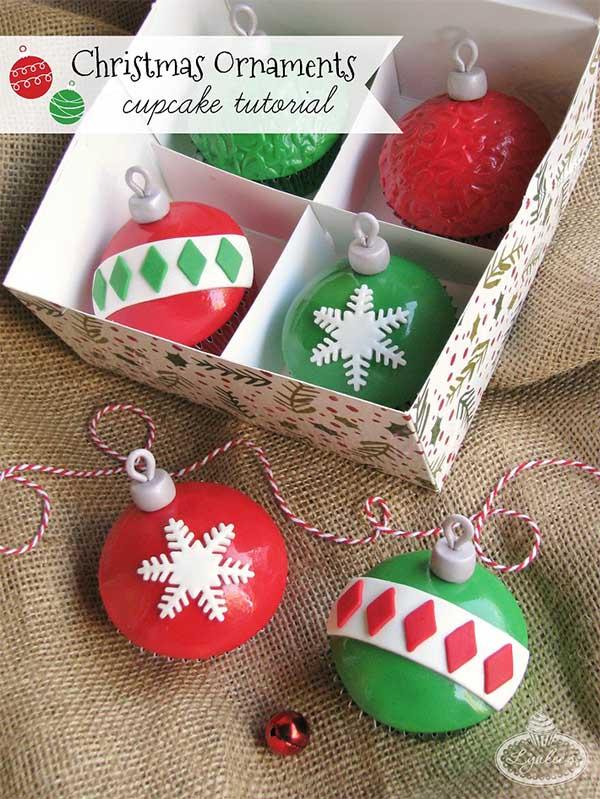 11 Christmas Cupcake Tutorials for Your Christmas Day Celebrations - Christmas ornament