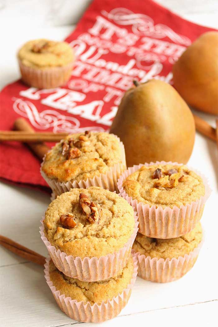 Healthy Holiday Baked Goods - Ginger Pear Low Carb Muffins - vertical